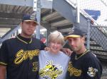 Cathy Johnson (middle) hosted a Stingers player in 2010. Here pictured with Eduardo Gonzalez (left) and Carlos Leyva (right).